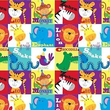 Fabric Alphabet Animals Blocks on Flannel by the 1/4 yard BIN