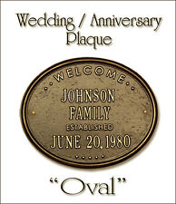 Whitehall Wedding Anniversary New Home Oval Plaque Choose from 17 Colors No RUST