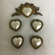 5 Vintage Button Covers Brass & Pearl Angels & Hearts