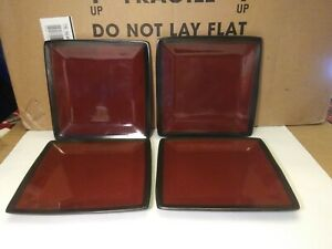 """Set Of 4 Better Homes and Gardens Black & Red Square Salad Plates ~ 8.5"""""""
