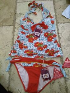 Red Poppy Design Tankini set Bikini. Top Size 14, Bottoms Size 16 By Joe Brown