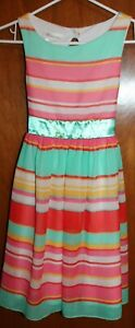 BONNIE JEAN Girls' Size 10 SLEEVELESS DRESS (multicolor stripes w/ tieback) EUC