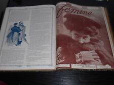 RELIURE REVUE FEMINA 1906  ANNEE COMPLETE MODE THEATRE VIE MONDAINE EVENEMENTS