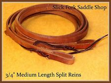 """Slick Fork Saddle Shop Medium Length 3/4"""" Hermann Oak Harness Leather Reins"""