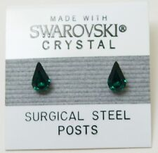 Green Tear Drop Stud Earrings 8mm Small Crystal Made with Swarovski Elements