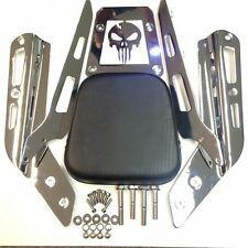 Chrome Skull Backrest Sissy Bar w/Leather Pad For ALL YEAR Honda VTX 1300C 1800C