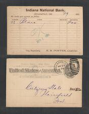 1896 Indiana National Bank Indianapolis Ind Advertising Us Postal Card Ux12 Horz