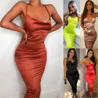 2020 Summer Women Satin Lace Up Bodycon Long Midi Dress Sexy Party Club Dresses