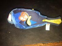 "Ty Disney Sparkle Finding Dory Fish Plush Bean Bag 9"" New Blue Yellow"