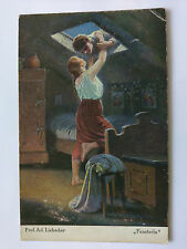 Germany Vintage colour Postcard  c1918 Fensterln by Adolf Liebscher