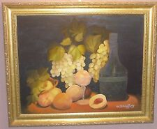 Art fruits food & wine our table original oil 16x30 painting signed N McCafferty