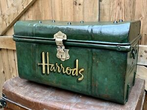 Beautiful Victorian Tin Trunk, Chest, Chippy Paint, Harrods, Haberdashers