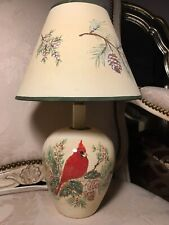 Cardinal Ceramic Lamp Greens Pinecones Winter Holiday