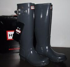 Hunter Women's Graphite Gloss Rubber Rain Boots Original Tall Size 5 W23616