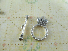 12 sets Silver Plated Crown Toggle Clasps Findings 63030