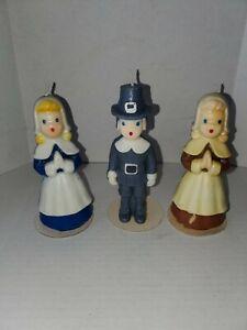 Vintage Gurley Thanksgiving Pilgrims Original Wick Unburnt Trio