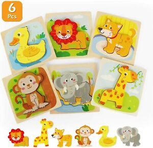 6PCS Wooden Jigsaw Puzzles Set Animals Puzzles Toddlers Learning Toy Xmas Gift