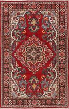 One-of-a-kind Excellent Floral RED Sarouk Area Rug Hand-Knotted Wool Carpet 5x7