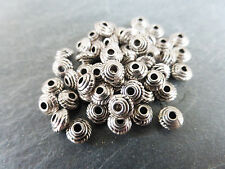 50 x Small Tibetan Silver Saucer Spacer Beads 5mm x 3mm Antique Silver LF/NF