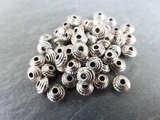 50 X Piccolo Tibetan silver Piattino Distanziatore Perline 5mm x 3mm Antico Argento LF / NF