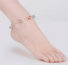 """Crystal Anklet 10"""" Ln760, Silver chain Lnt- Faceted Cube Clear Aurora glass"""