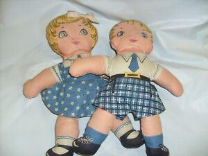 Vintage Pair  Cloth Doll Art Fabric Cut , Stitch and Stuff - Raggedy Ann + Andy