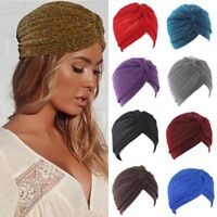 Ladies Turban Twist Pleated Turban Hat Hair Wraps Sun Cap Vintage Style Headwrap