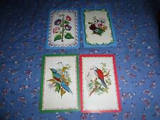 a28. 4 Vintage Swap Playing Cards  Blank Backs  Birds   Flowers