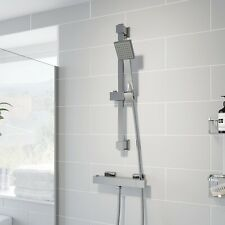 Thermostatic Bar Valve Shower Square Adjustable Head Wall Mounted Chrome