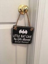 Little Bat Cave Wooden Nursery Boy's Room Door Sign