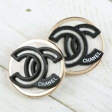 Chanel Buttons CC Ivory Black 🖤  Silver White 23mm Unstamped 2 Button AUTH!!!