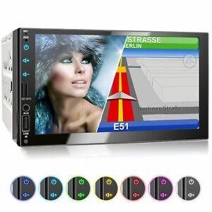 Autoradio mit Navi GPS USB SD Bluetooth 7 Zoll Touch Monitor MP3 Wma Mpeg4 2din
