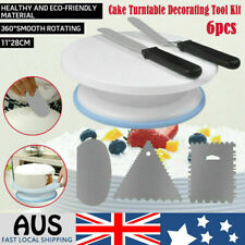 6x Cake Decorating Tool Turntable Rotating Baking Stand Comb Icing Cream Spatula