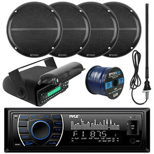 "Pyle Bluetooth USB Receiver, 6.5"" Speakers and Wiring, Antenna, Radio Housing"