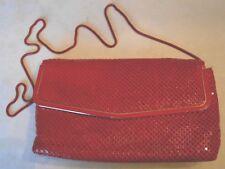 Handbag Red Metallic Mesh Evening 19in Hang Strap
