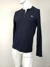 ABERCROMBIE & FITCH Moose Logo Soft Cotton Henley Shirt Navy sz XL NWT
