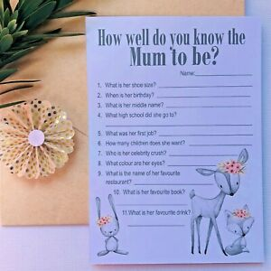 Baby Shower Game - How well do you know the Mum to be - Woodland Animals Boho