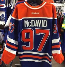 Edmonton Oilers Home Authentic Jersey Reebok Pro Size 50 Connor McDavid Fight