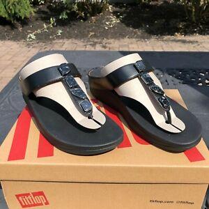 FitFlop Womens Size 10 Fino Shellstone Black Flip Flops New in Box