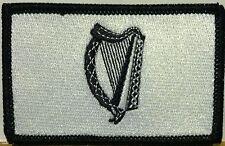 IRISH Flag Patch With VELCRO® Brand Fastener  Black & White. BLACK Border #2