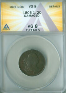 1805 Draped Bust Half Cent  ANACS VG-8 DETAILS FREE S/H (2127129)