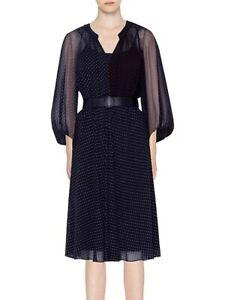 Akris punto 2020 New Mulberry Silk Two-Tone Polka Dot Dress lined $1490, sz 14US