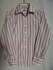 """Mens Small GUESS BEIGE STRIPED SHIRT button front S """"GRENADINE RED"""" purple"""