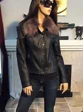 NWT Guess Faux Leather Fur Trim Black Moto Jacket Women Size M (T215)