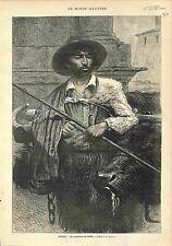 Pâtre Berger Shepherd Pastore Italy Italia GRAVURE ANTIQUE PRINT 1883