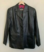 Preston & York Womens Jacket Black Lambskin Leather Buttons Pockets Lined Sz PM