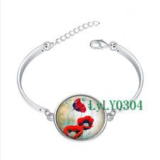 Oriental Poppies glass cabochon Tibet silver bangle bracelets wholesale