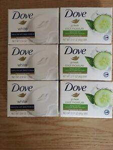 New 6 Dove Beauty Bar Soap 3-Deep Moisture 3-Cool Moisture Cucumber Green Tea