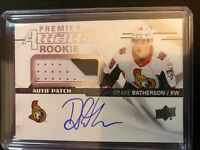 2018-19 UD Premier Attractions Drake Batherson Rookie Auto 3 Color Patch /99
