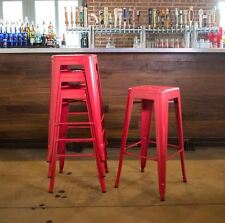 Red Bar Stool, Set of 4 Loft 30-In Metal Stools,Modern Style Kitchen Seat Chair